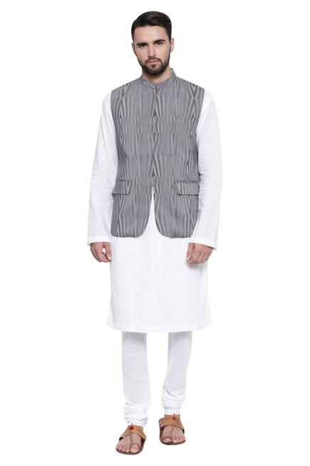 Stripe print nehru jacket