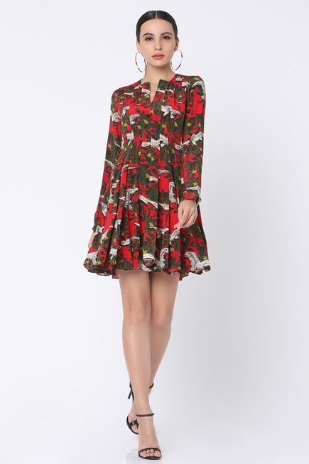 Panelled Printed Flared Dress