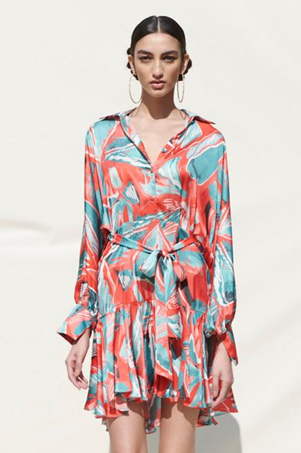 Flared Printed Dress