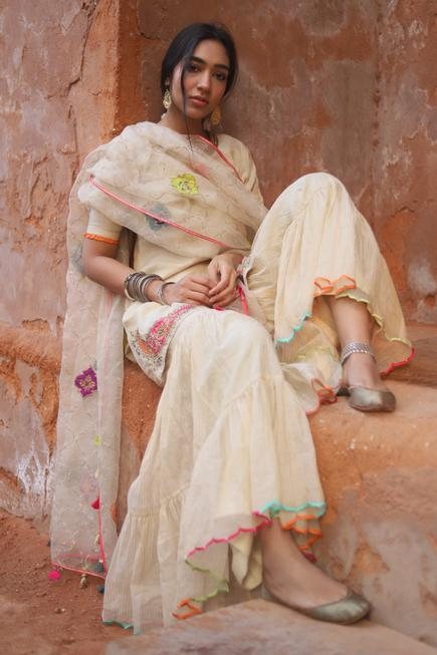 Handwoven Chanderi Kurta Gharara Set