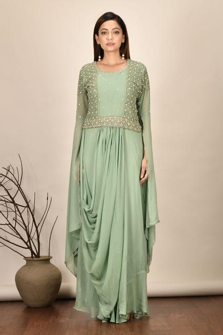 Embroidered Draped Gown