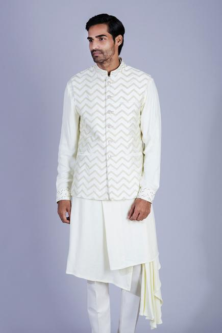 Embroidered Bundi & Draped Kurta Set