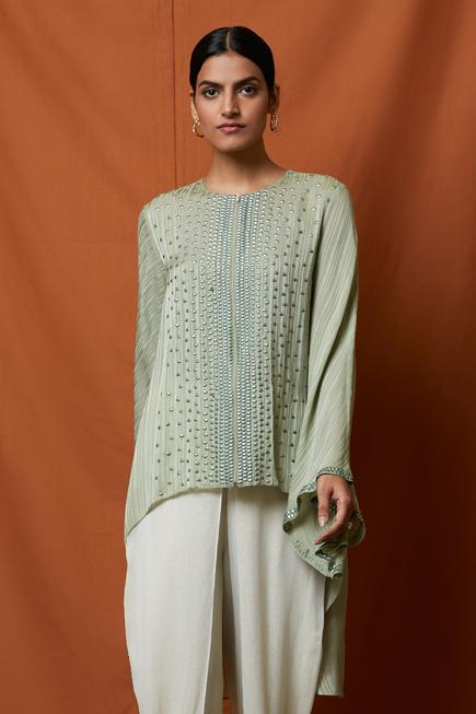 Asymmetric Embroidered Tunic