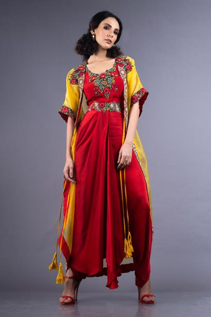 Organza Jacket with Dhoti Jumpsuit