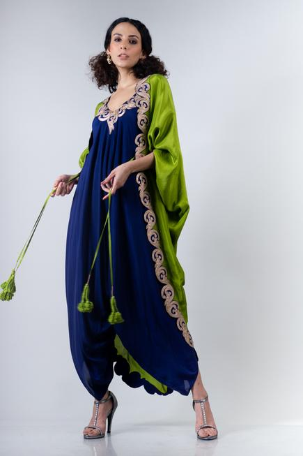 Silk Jacket with Draped Jumpsuit