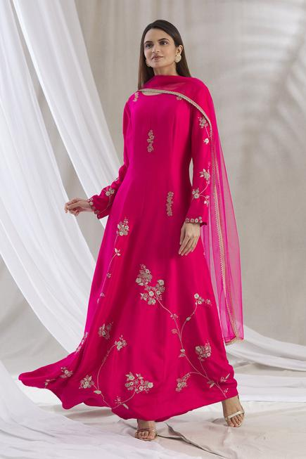 Embroidered Silk Kurta with Dupatta