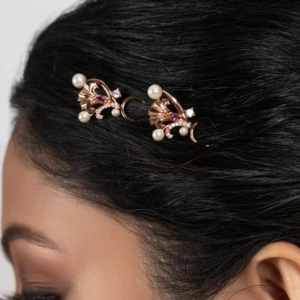 Floral Stone Hair Pins (Set of 2)