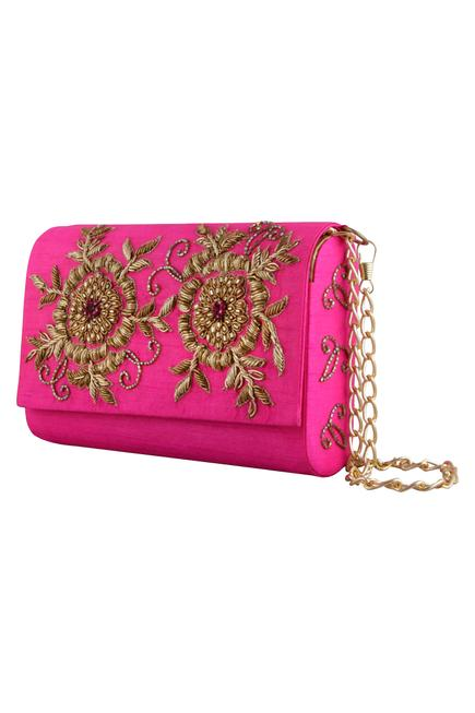 Floral Flap Clutch with Sling