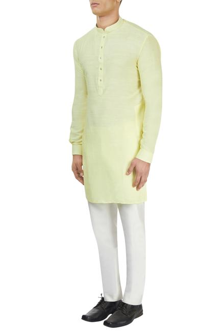 Pastel yellow kurta & white pants