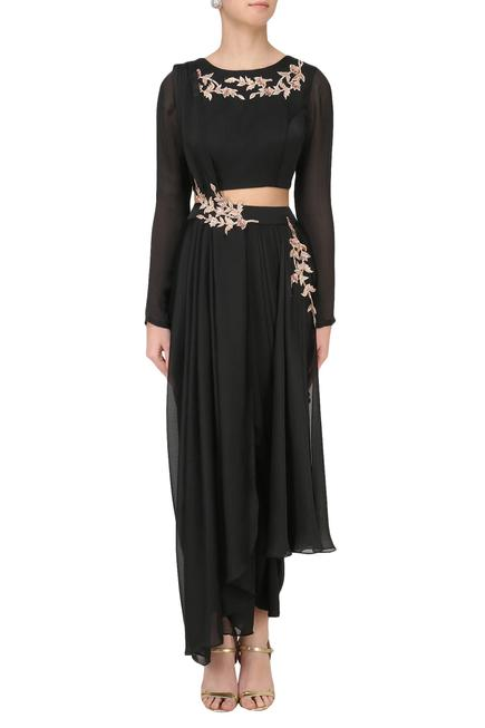 Embroidered Crop Top with Dhoti Pant