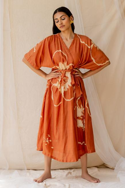 Hand Painted Wrap Dress