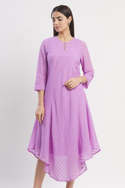 Asymmetric Cotton Jacquard Dress with Inner