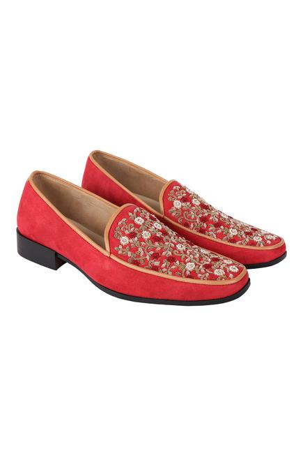 Suede Floral Embroidered Loafers