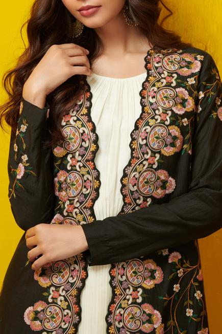 Pleated Dress with Embroidered Jacket