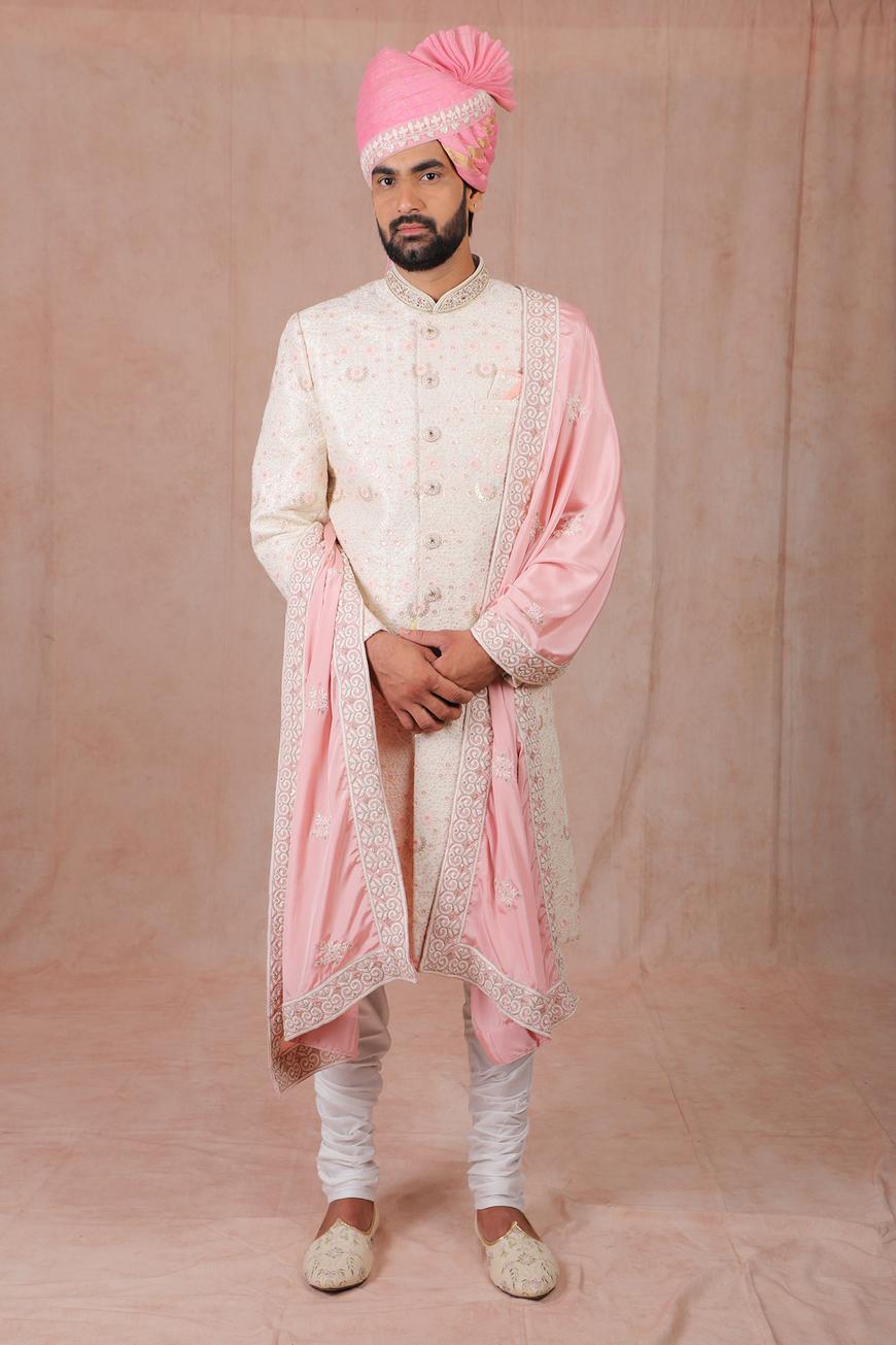 Silk Embroidered Sherwani Set