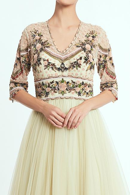 Hand Embroidered Anarkali Gown