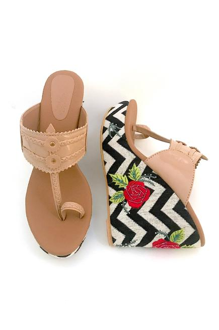 Jacquard Floral Embroidered Kolhapuri Wedges