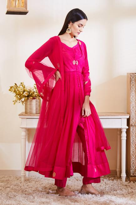 Silk Embroidered Anarkali Set