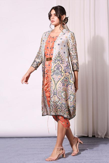 Printed Dress with Jacket