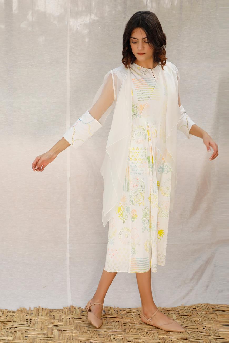 Linen Jumpsuit & Organza Jacket Set