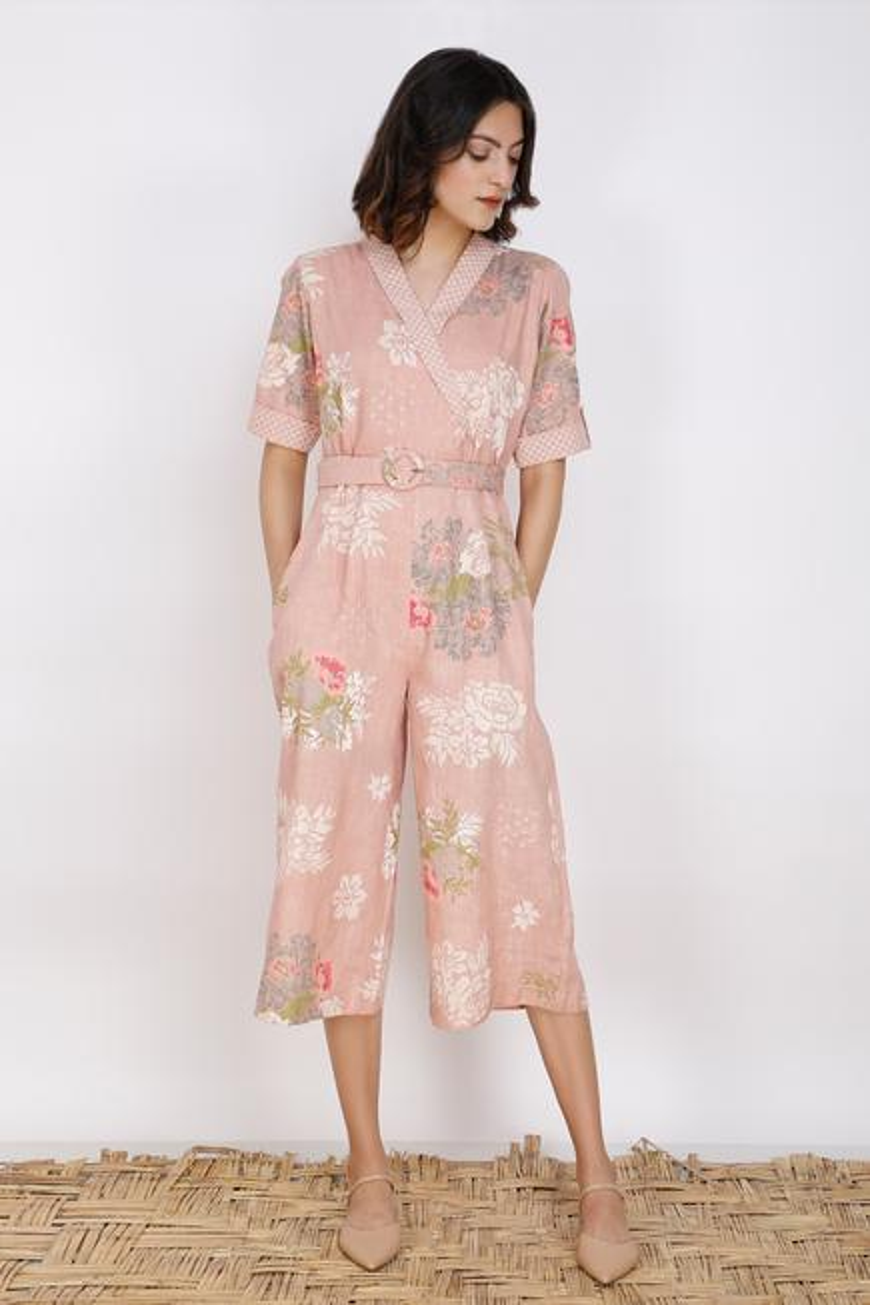 Floral Print Linen Jumpsuit