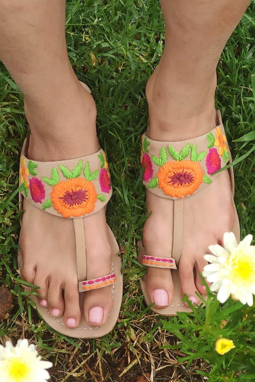 Floral Suedette Sandals