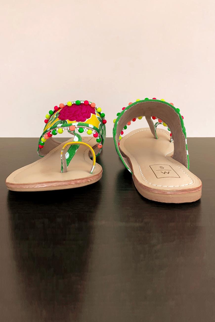 Floral Print Kolhapuri Sandals
