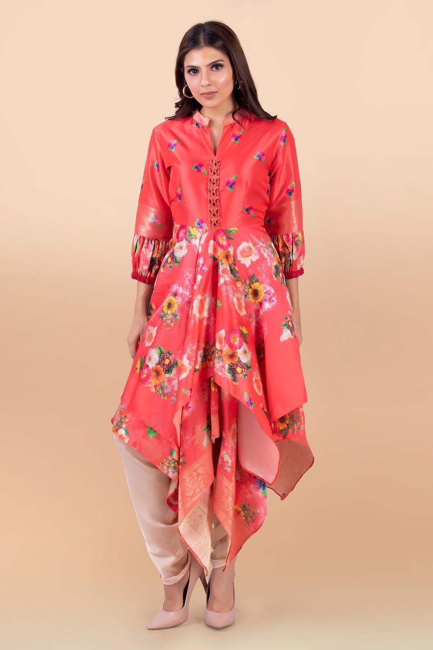 Printed Layered Kurta & Dhoti Pant Set