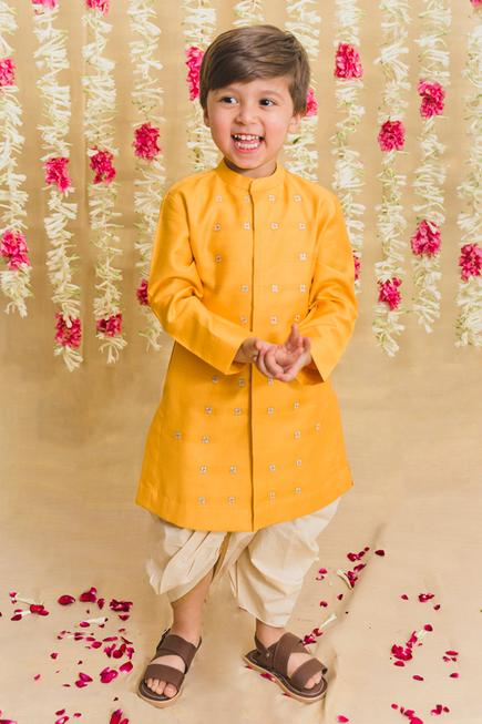 Embroidered Silk Kurta & Dhoti Pant Set