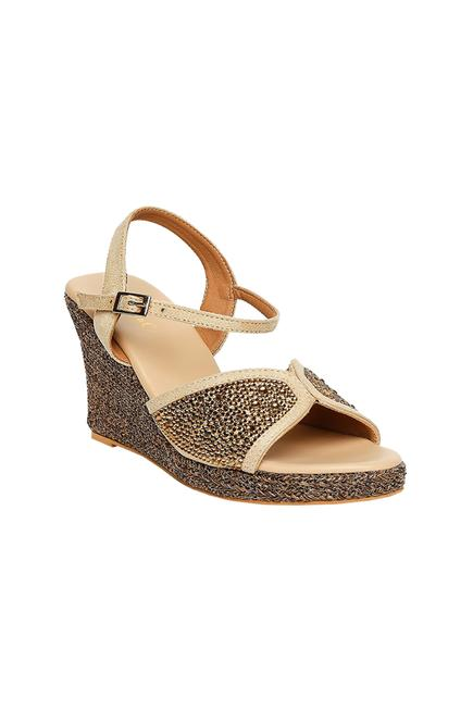 Open Toe Crystal Wedges