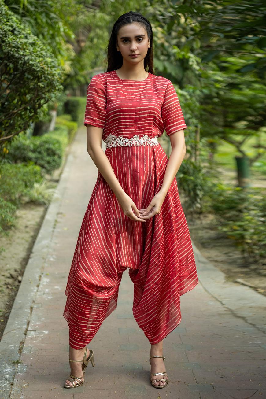 Silk Chanderi Cowl Jumpsuit with Belt