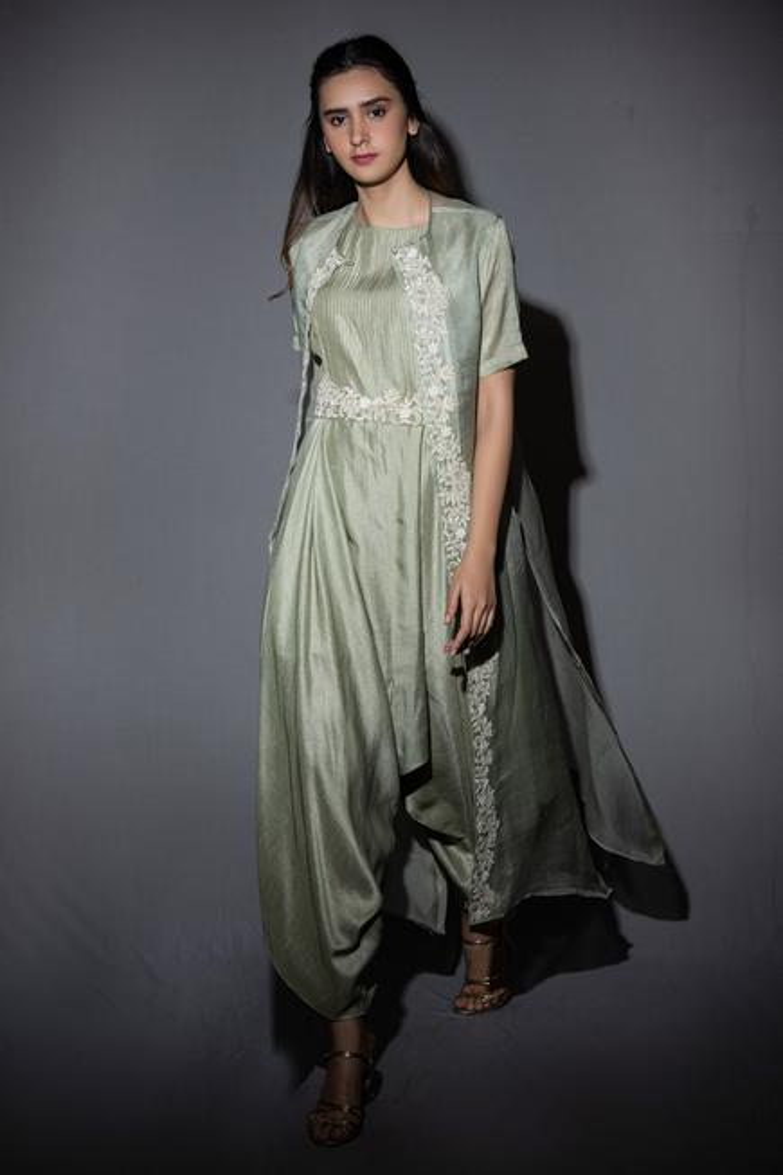 Silk Jumpsuit & Organza Jacket Set