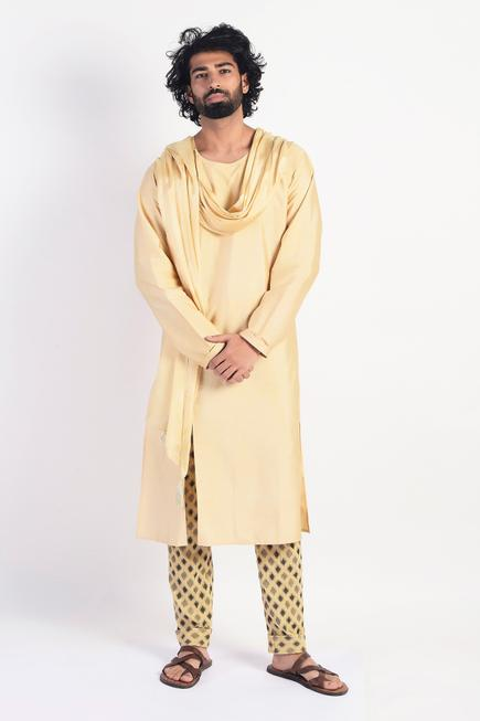 Straight Kurta with Attached Scarf