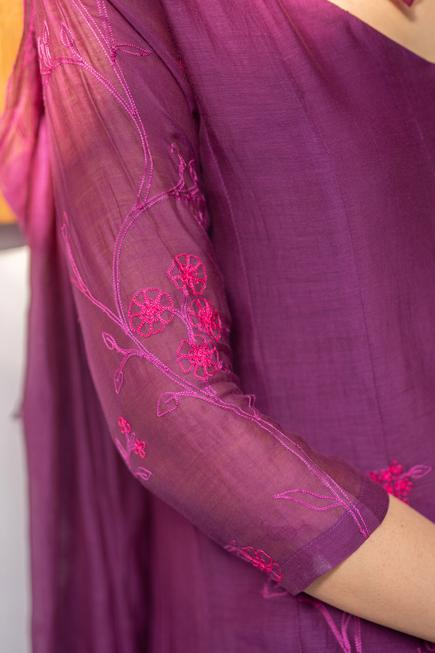 Embroidered Chanderi Anarkali with Dupatta