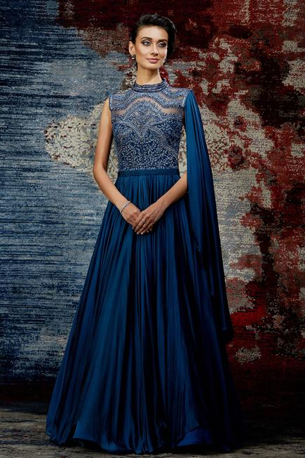 Satin Embroidered Gown