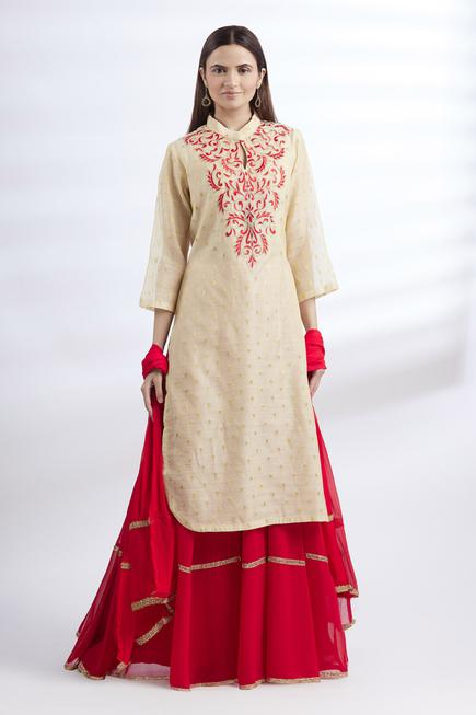 Chanderi Kurta & Skirt Set