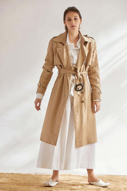 Cotton Linen Trench Jacket