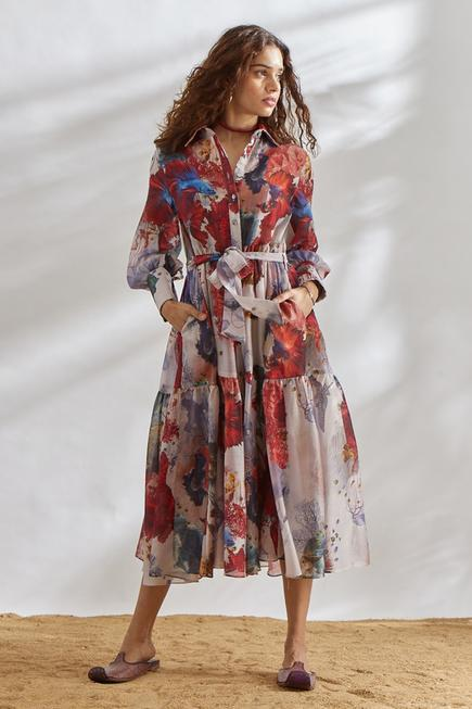 Chanderi Printed Dress with Tie-up