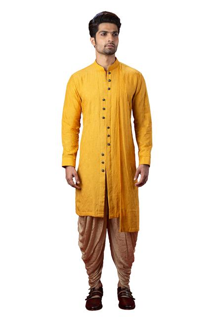 Silk Embroidered Kurta & Dhoti Pant Set