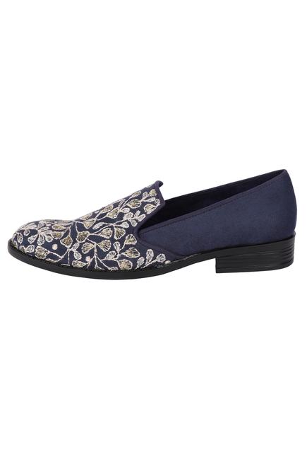 Suede Embroidered Loafers