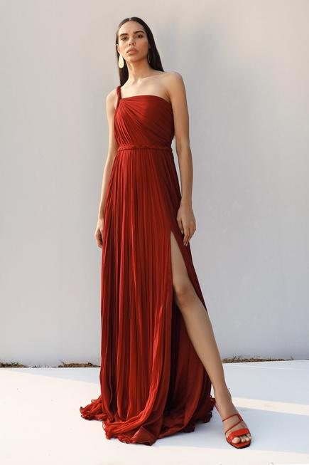 One Shoulder Pleated Gown