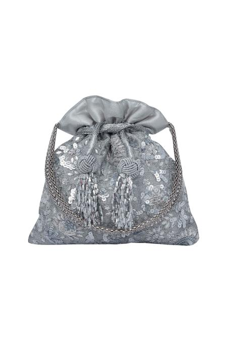 Fl Embroidered Silver Potli Bag