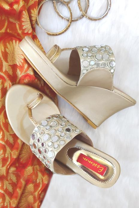 Mirror Embroidered Wedges