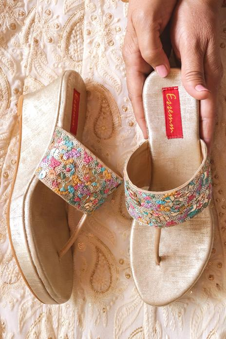 Sequin Embroidered Wedges