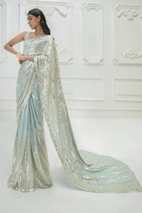 Sequin Embroidered Saree with Blouse