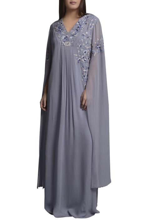 Embroidered kaftan dress with dramatic sleeves