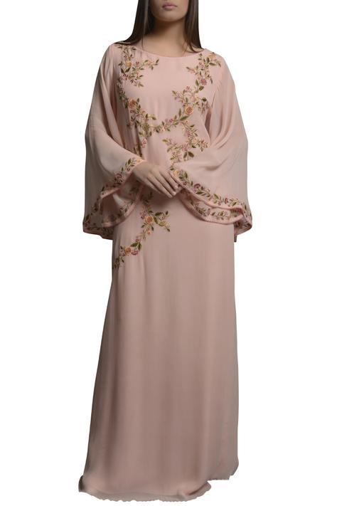 Embroidered kaftan dress with flared sleeves