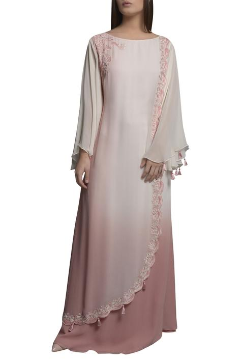 Embroidered layered kaften dress