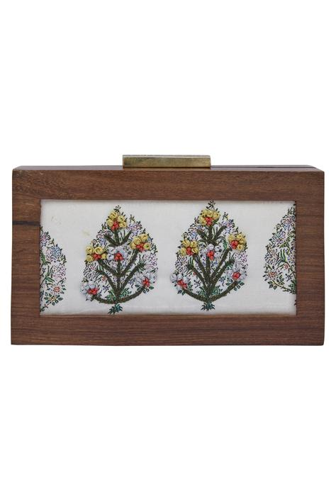 Floral Butta Embroidered Clutch Cum Sling bag