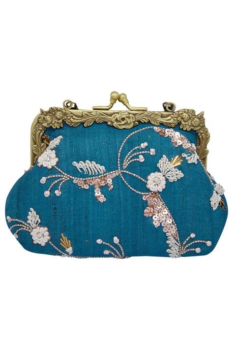Floral Mukaish Embroidered Clutch Cum Sling bag